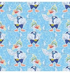 Seamless cartoon goose divers vector image