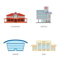 set of urban buildings in a flat style restaurant vector image vector image