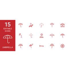 15 umbrella icons vector image