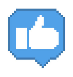 8 bit thumb up icon vector