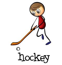 A man playing hockey vector