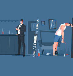 Alcohol addiction flat composition vector