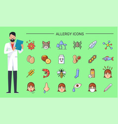 Allergy icons doctor with prescription in hands vector