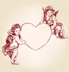 angels or cupid little baby holds a heart vector image