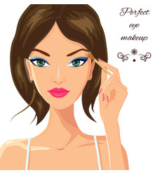 Attractive woman applying eyeshadow fashion vector