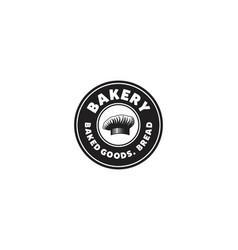 Bakery bread chef hat vintage logo vector