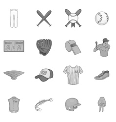 Baseball icons set black monochrome style vector