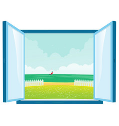 Beach view by the window vector