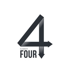 Black and white number four logo formed by three vector image