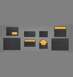 Black envelopes template set blank paper covers vector