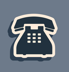 Black telephone icon isolated on grey background vector