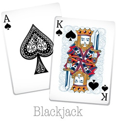 Blackjack cards with king and ace vector