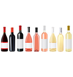 bottle wine red white and rose vector image