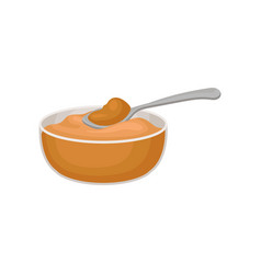 Bowl of peanut butter on a vector