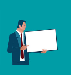 businessman holding chalk board vector image