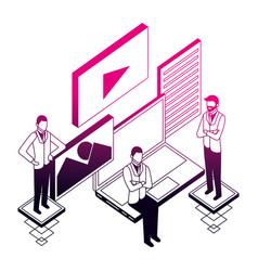 businessmen group laptop application network data vector image