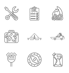 Camp icons set outline style vector