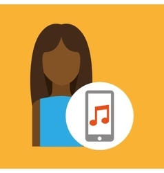 Character afro woman smartphone music application vector
