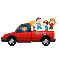 Children riding on pick up truck vector image