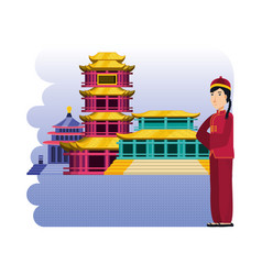 Chinese culture architecture icons vector