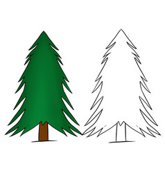 Colored hand drawn christmas tree isolated vector