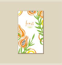 Creative bright card with fresh halves of papaya vector