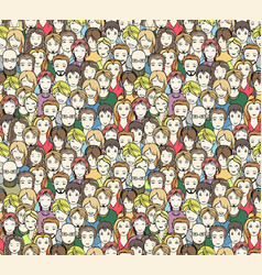 crowd seamless pattern vector image