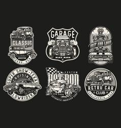 custom cars vintage monochrome badges vector image