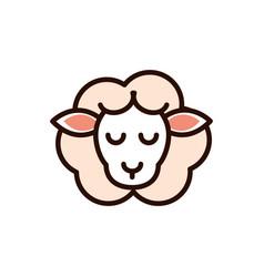 cute face sheep animal cartoon icon vector image
