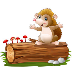 cute hedgehog cartoon on the tree log vector image