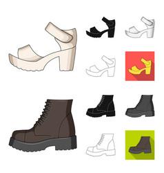 Different shoes cartoonblackflatmonochrome vector