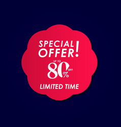 Discount special offer up to 80 off limited time vector