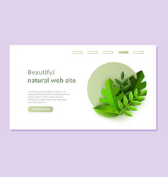 eco landing page template with green plants in vector image