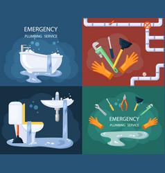 emergency plumbing set blocked drain vector image
