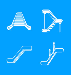 Escalator elevator icons set simple style vector