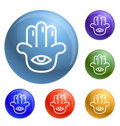 Eye palm icons set vector