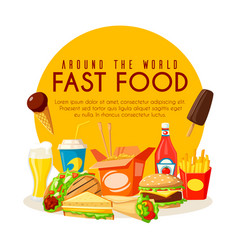 fast food poster with lunch dishes and drinks vector image