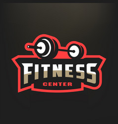 Fitness center sport logo on a dark background vector