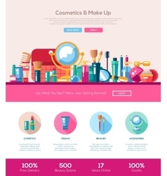 Flat design cosmetics make up iheader banner with vector image