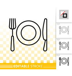 Fork knife plate simple black line icon vector