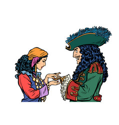 Fortune teller and pirate with a hook isolate vector
