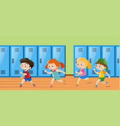 Four kids running in locker room vector