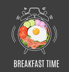 fried eggs bacon tomato vector image