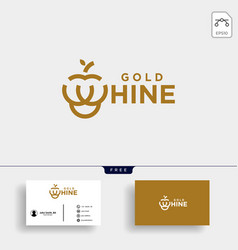 Gold wine or grape type logo template vector
