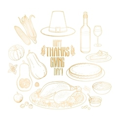 Graphic Thanksgiving day collection vector image
