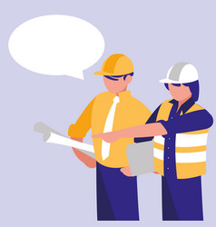 group of builders with speech bubble vector image