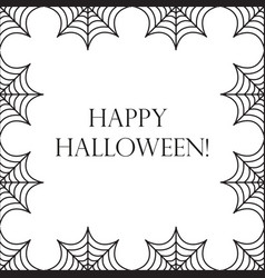 Halloween square frame for text with spider web vector
