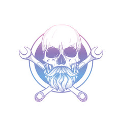hand drawn sketch skull with wrench vector image