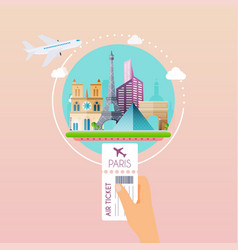 Hand holding boarding pass at airport to paris vector
