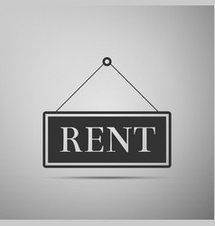 Hanging sign with text rent icon isolated vector